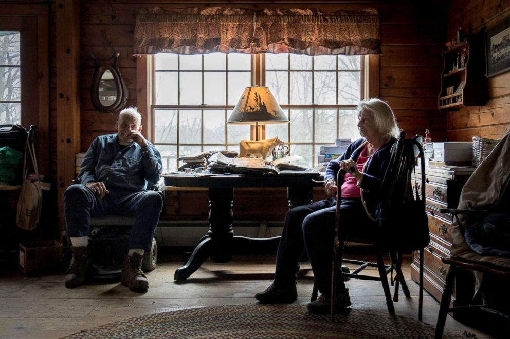 PHOTO: Former dairy farmer Rodney Bailey, 90, and his sister Gladys, 94, sit in their home on farmland that has been a part of their family for generations in East Greenwich, Rhode Island, April 12, 2018.