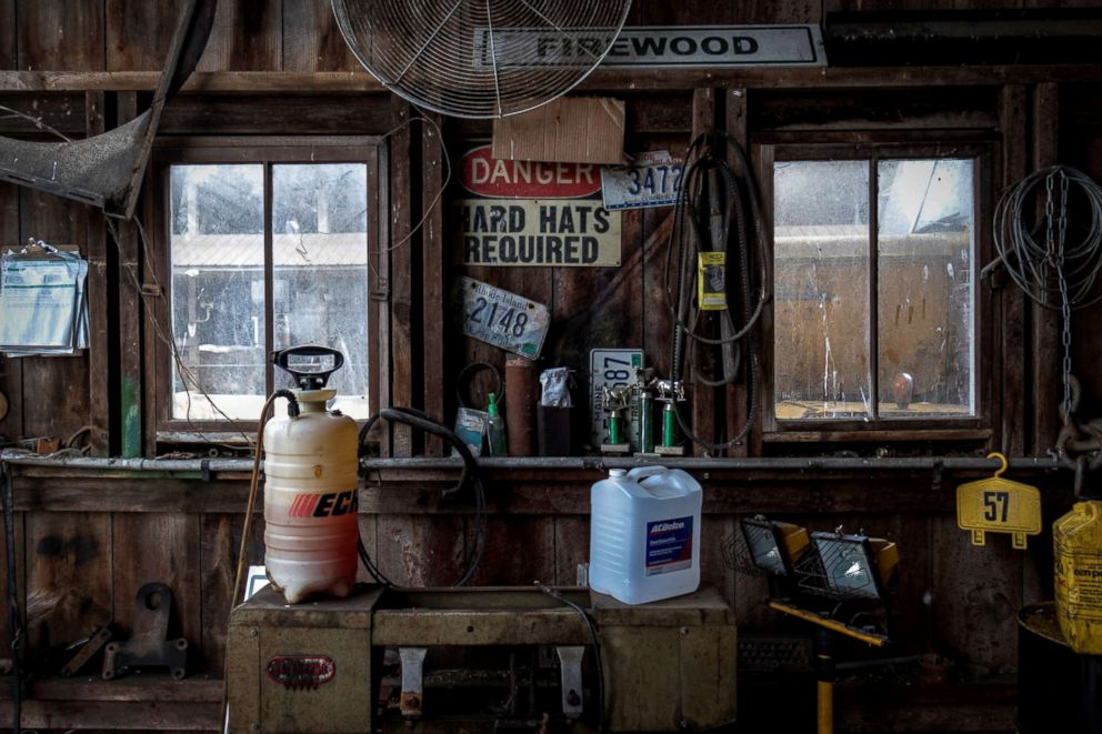 PHOTO: Supplies, old signs for decoration, and trophies from contests line the walls at a barn at EMMA Acres dairy farm, in Exeter, Rhode Island, April 7, 2018.
