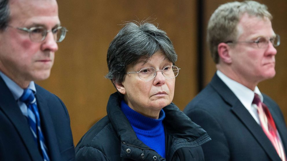 Linda Kosuda-Bigazzi appears at Bristol Superior court for a hearing on a murder charge,  Feb. 13, 2018 in Bristol, Conn.  Linda Kosuda-Bigazzi is charged with murder in the death of her husband, Dr. Pierluigi Bigazzi, a professor of laboratory science and pathology at UConn Health.
