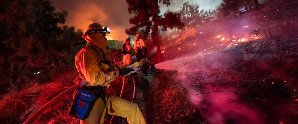 PHOTO: Firefighters work on the Getty fire in Los Angeles, Oct. 28, 2019.