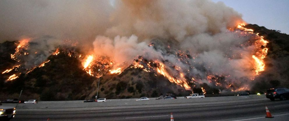 PHOTO: The Getty Fire burns along the 405 freeway north of Los Angeles, Oct. 28, 2019.