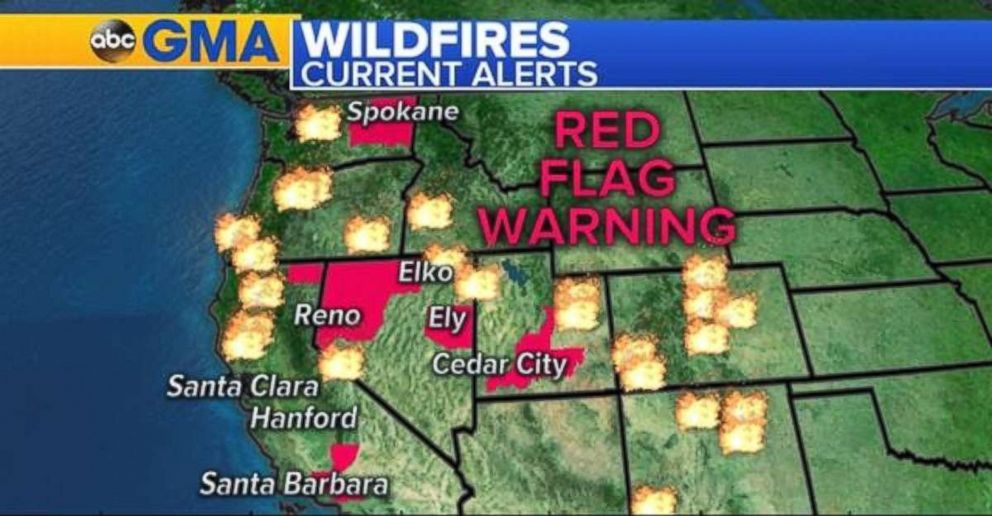 Red flag warnings are in place in Southern California, northern Nevada, central Utah and eastern Washington.