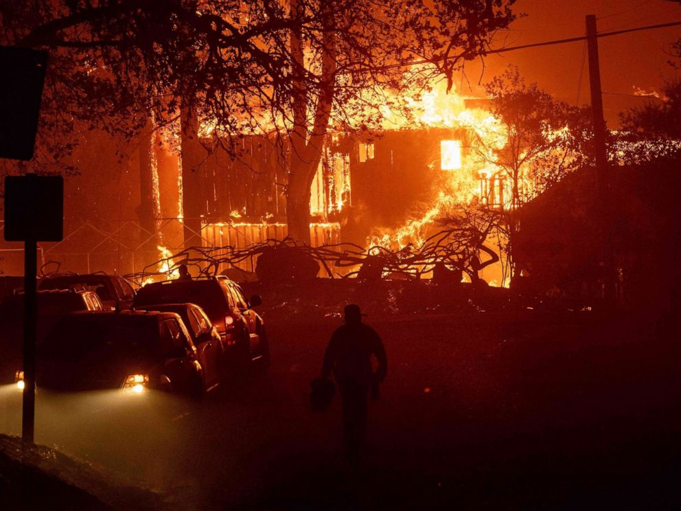 PHOTO: A home is engulfed in flames as wind and embers rip through the area during the Kincade fire near Geyserville, Calif., Oct. 24, 2019.