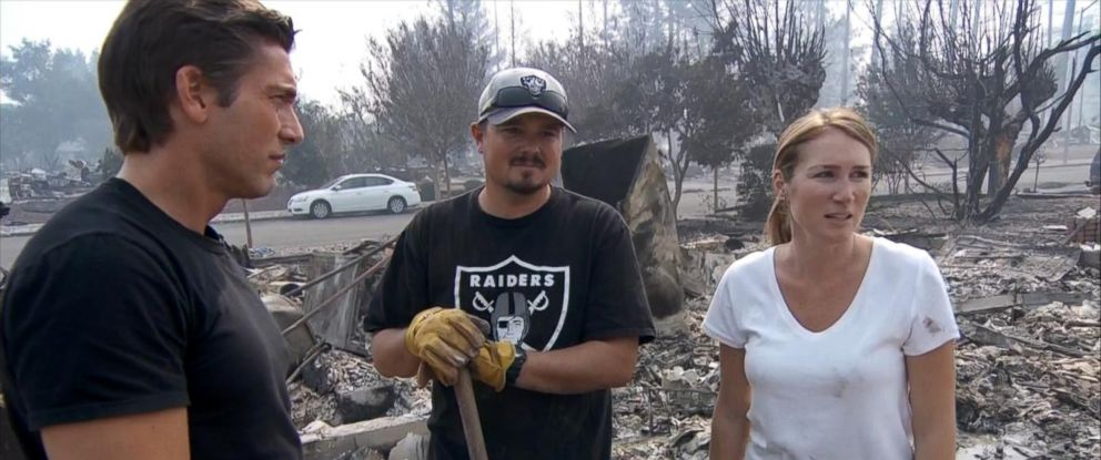 PHOTO: Brent and Janelle Rinker speak to ABC News David Muir after their home was destroyed by wildfires that decimated the Coffee Park neighborhood in Santa Rose, California.