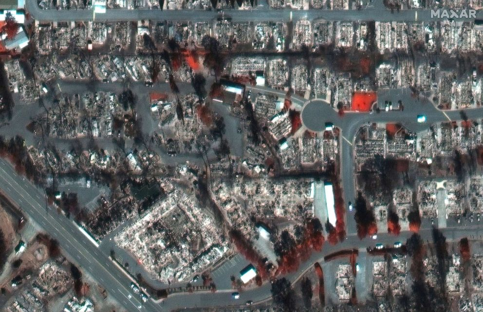 PHOTO: A color infrared satellite image shows a closeup view of Northridge Terrace in Medford, Ore., after the Alameda Fire, Sept. 9, 2020.