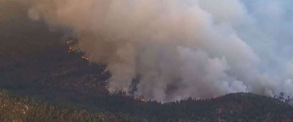 A brush fire in the San Bernardino National Forest is threatening 600 homes.