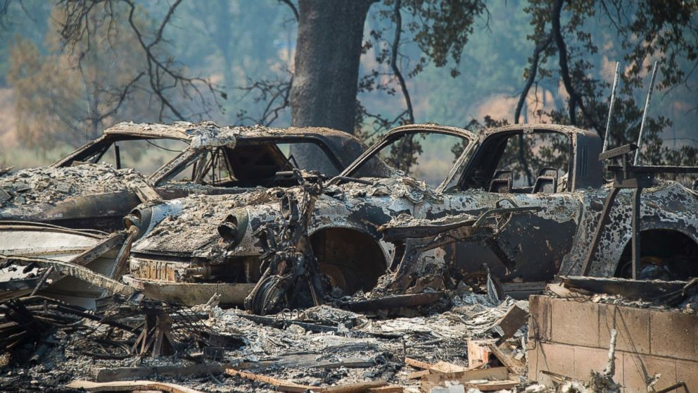 Vehicles and homes on Wolf Creek Road were destroyed in the Pawnee Fire in Lake County as residents were forced to evacuate and the fire continued to burn out of control on Monday.