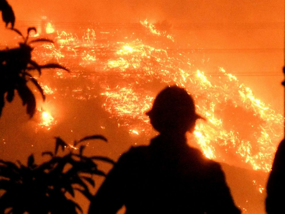 PHOTO: Firefighters keep a close watch on the Thomas wildfire in the hills outside Montecito, Calif., Dec. 16, 2017.