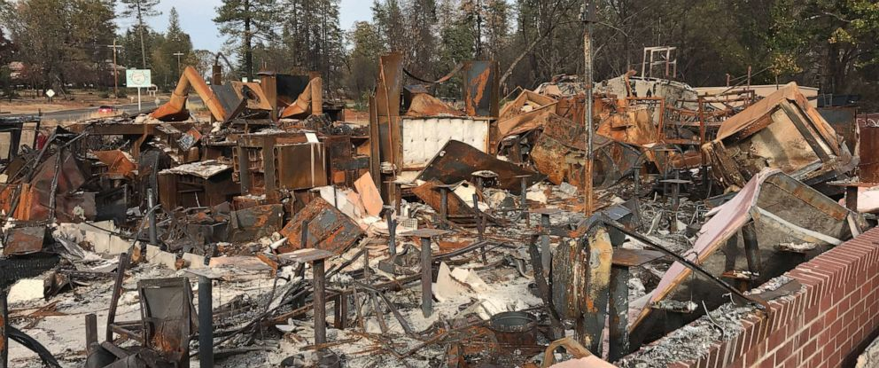 PHOTO: A year after the Camp Fire, the McDonalds in Paradise, California, is still a charred pile of rubble.