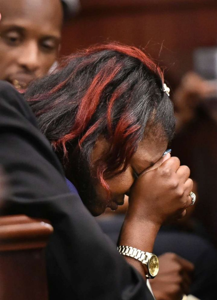 PHOTO: Shanara Mobley, mother of Kamiyah Mobley, cries before the sentencing hearing for Gloria Williams, May 3, 2018, at the Duval County Courthouse in Jacksonville, Fla.