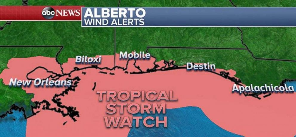A tropical storm watch is in effect from Louisiana to the Panhandle of Florida.