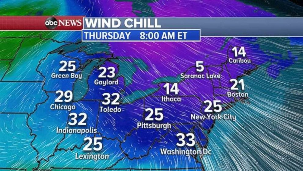PHOTO: Wind chill temperatures are going to dip below freezing across much of the Midwest and Northeast on Thursday morning.