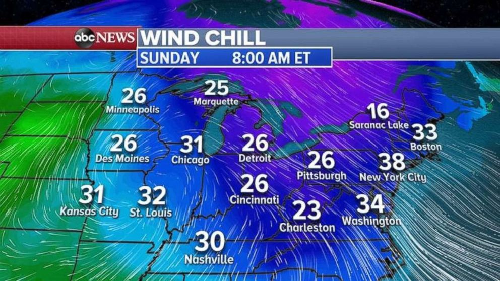 PHOTO: Wind chill temperatures will be the coldest of the season in the Midwest and Northeast on Sunday morning.