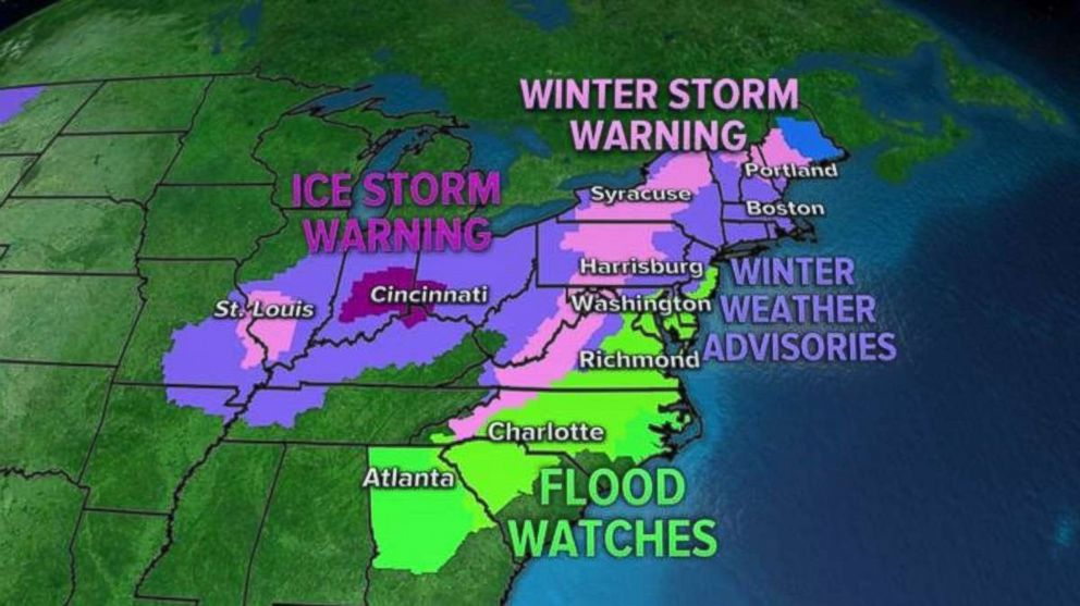 PHOTO: Alerts are in place on Thursday as a noreaster moves into the Midwest and Northeast.