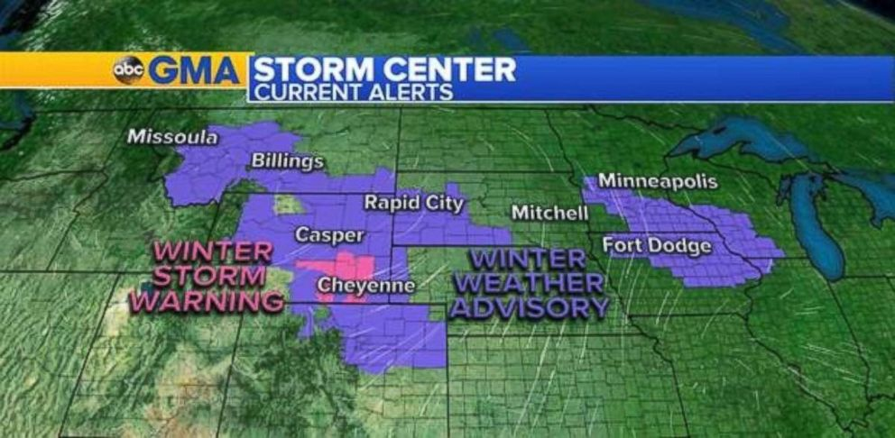 PHOTO: Winter storm warnings and winter weather advisories are in place on Sunday.