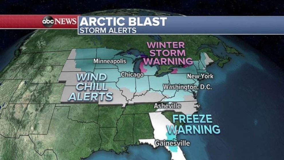 PHOTO: There are 29 states under cold or snow alerts on Thursday.