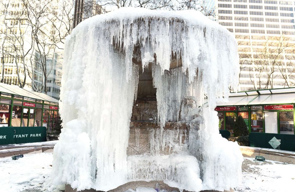 PHOTO: The frozen Josephine Shaw Lowell Memorial Fountain located at Bryant Park in New York is captured on Jan. 2, 2018.