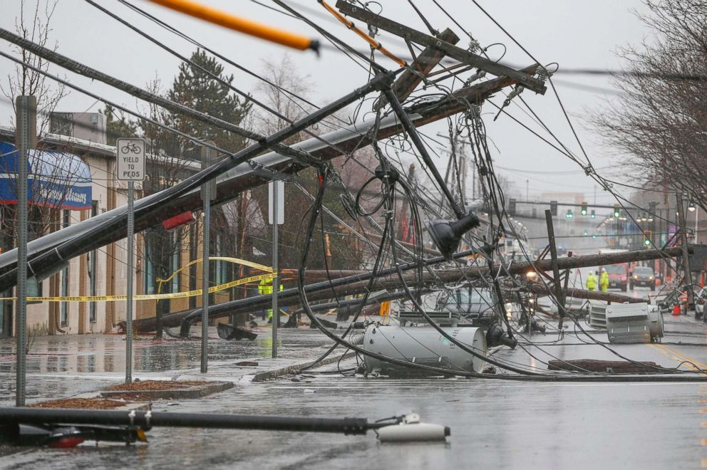 PHOTO: Wind knocks down power poles onto Arsenal Street in Watertown, Mass., March 2, 2018.
