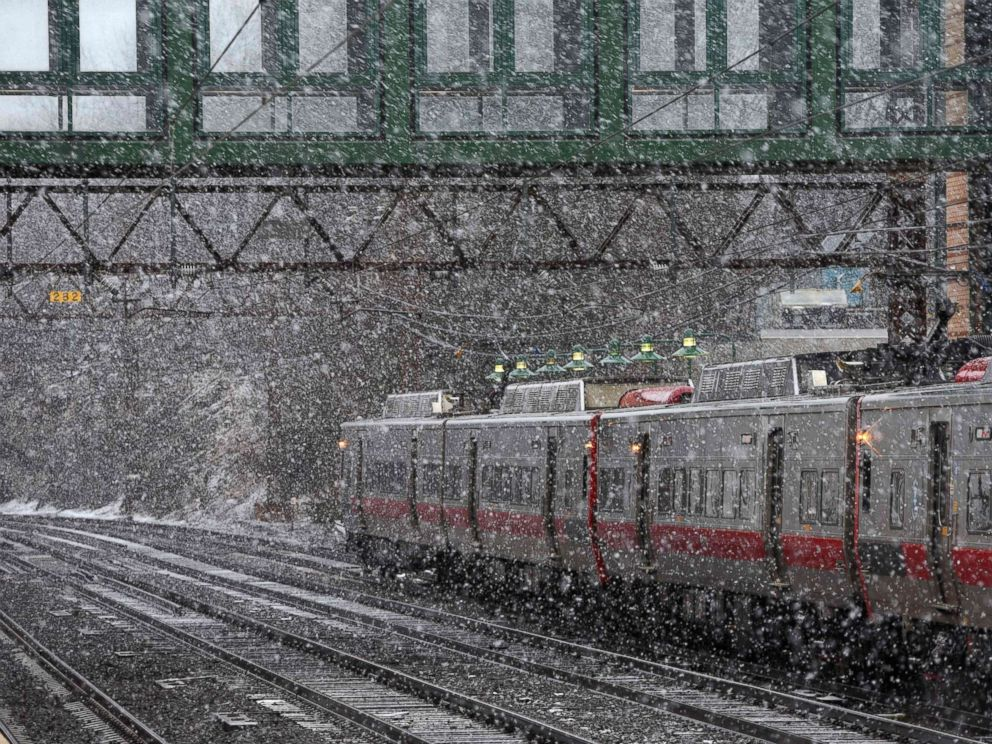 PHOTO: A New Haven Line Metro North train makes its way around a turn at the Metro North Station in Greenwich, Conn., March 13, 2018, as New Englands third noreaster in less than two weeks hits the area with the heaviest snow in the Boston area.