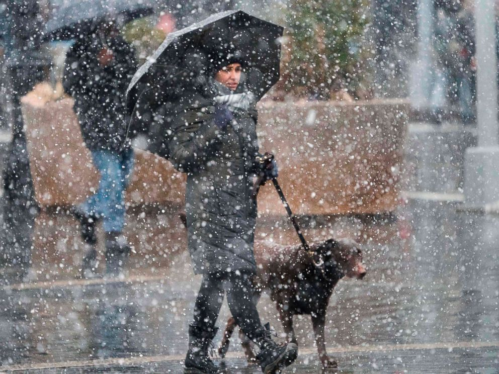 PHOTO: A woman walks her dog down 14th Street as heavy snow falls March 7, 2018 at Union Square in New York.