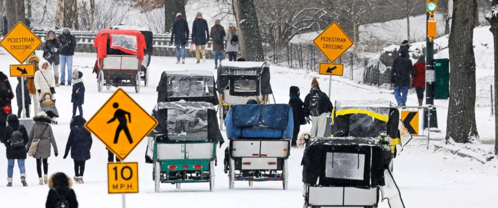 PHOTO: Park-goers and pedi-cabs fill the roadway during a light snow in New Yorks Central Park in New York, Dec. 30, 2017.