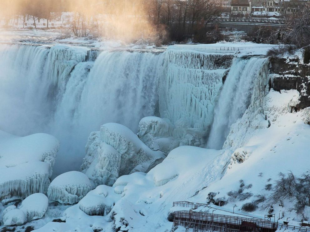 PHOTO: Ice and water flow over the American Falls in Niagara Falls, New York, viewed from the Canadian side, in Niagara, Ontario, Canada, Feb. 12, 2018.