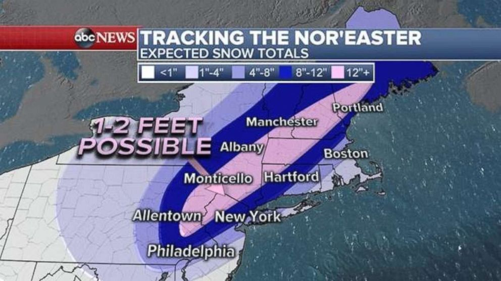 PHOTO: Over a foot of snow is possible in the area highlighted in pink, all north and west of major cities (northern NJ/Hudson Valley, and in the higher elevations of PA, NJ, and NY (including Poconos and Catskills, could see up to 2 feet, March 7, 2018.