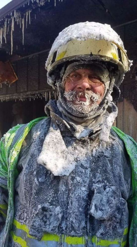 PHOTO: Fire Chief Mitch Hansen in Cameron, Wis., on Wednesday, Jan. 30, 2019, after battling a house fire in minus 50 wind chills. The overspray from the hoses was hitting firefighters as ice pellets.
