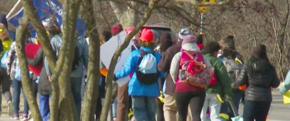 PHOTO: Wisconsin students from Shorewood High School are marching 50 miles from Madison to U.S. House Speaker Paul Ryans hometown office in Janesville on a four-day march.