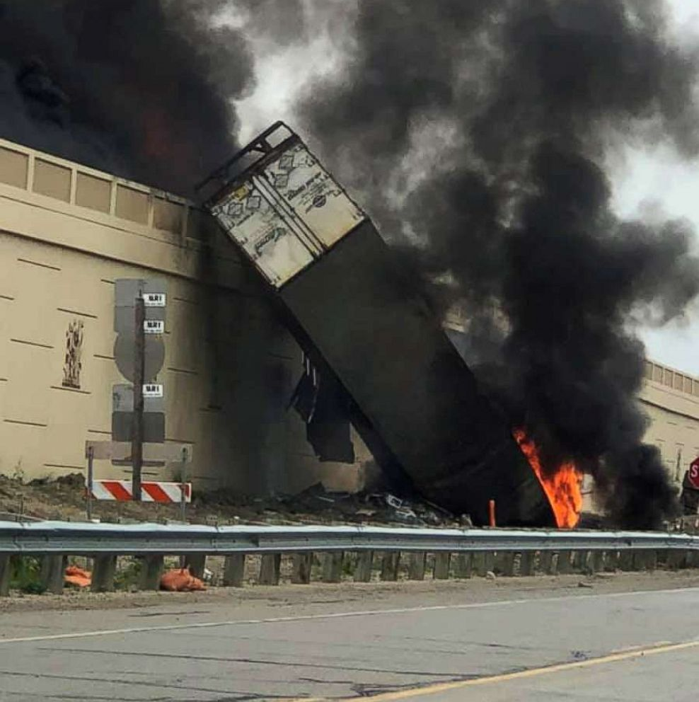 PHOTO: The fiery wreckage of a multi-vehicle crash on Interstate 94 in Racine County, Wisc., is seen in a photo shared to social media on June 19, 2019.