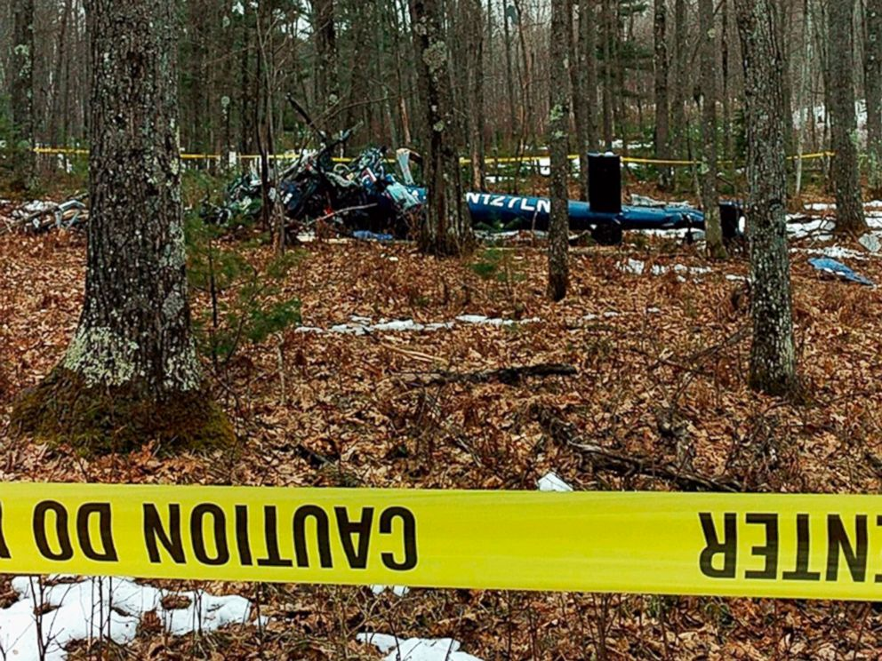PHOTO: This image provided by the Oneida County Sheriffs Office in Rhinelander, Wis., shows the wreckage of a medical helicopter that was found early Friday, April 27, 2018, after it crashed in Hazelhurst, Wis.
