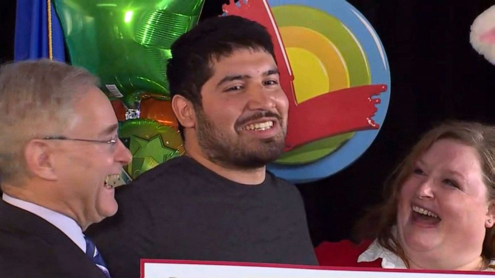 PHOTO: Manuel Franco is named the winner of a $768 million Powerball jackpot during a press conference in Madison, Wis., April 23, 2019.
