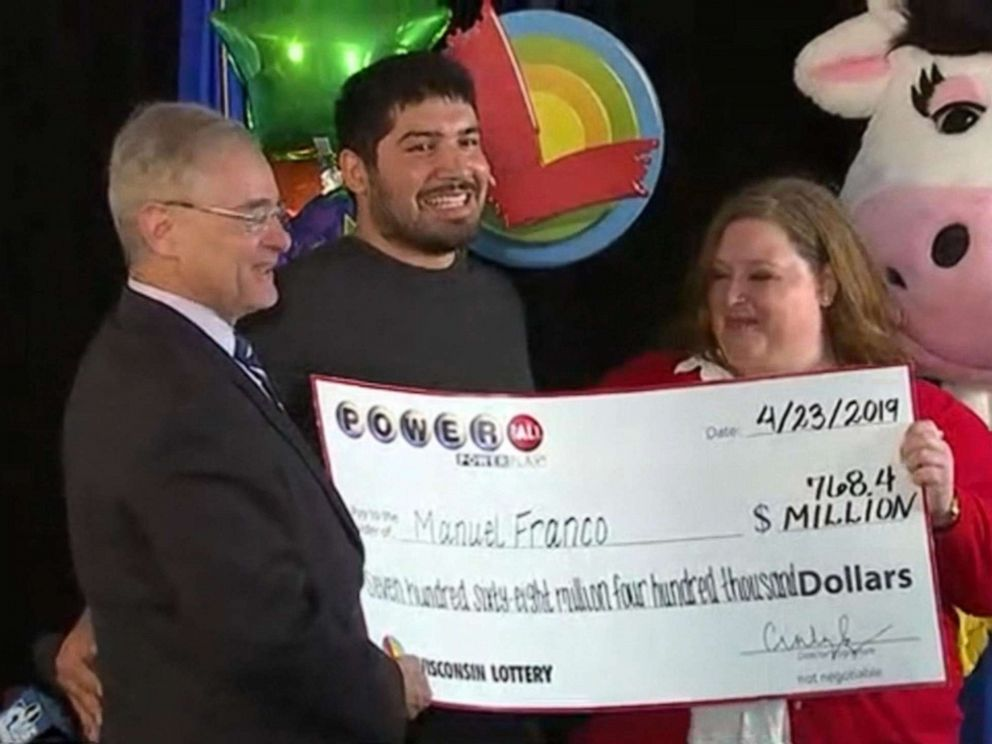 PHOTO: Manuel Franco of West Allis, Wis., is named the winner of a $768 million Powerball jackpot during a press conference in Madison, Wis., April 23, 2019.