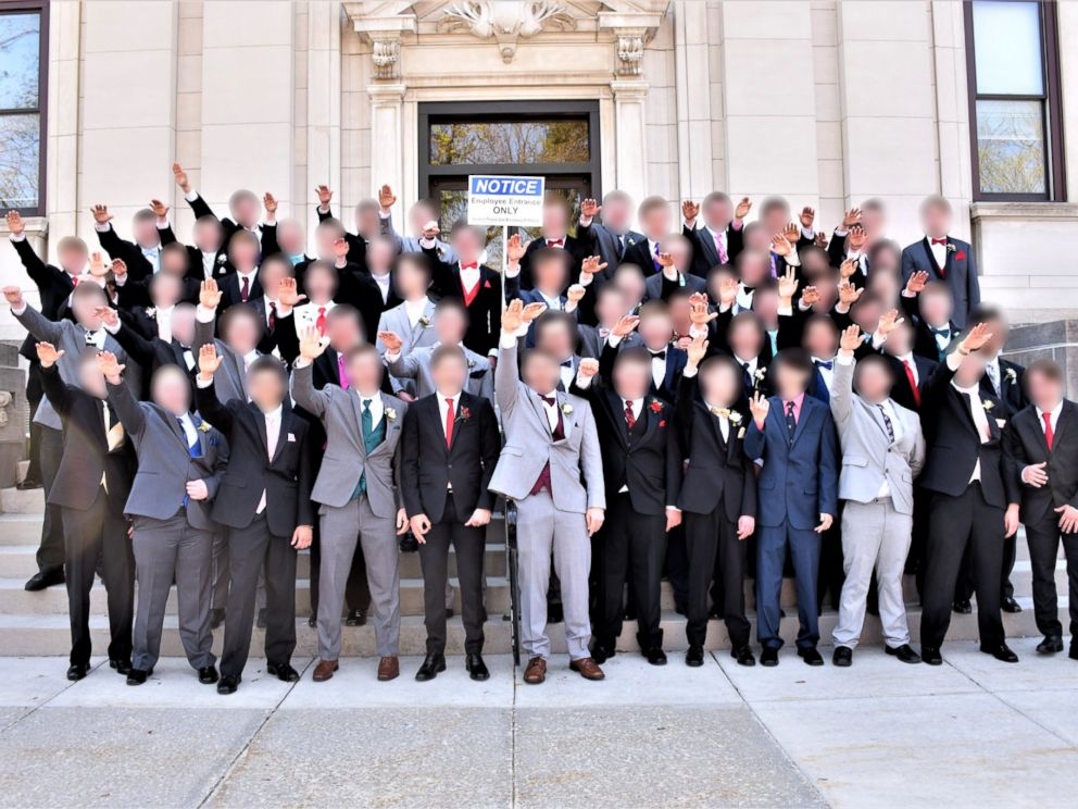 PHOTO: A group of Baraboo High School students in Wisconsin appear to pose in a Nazi salute, while posing for prom pictures in Spring 2018.