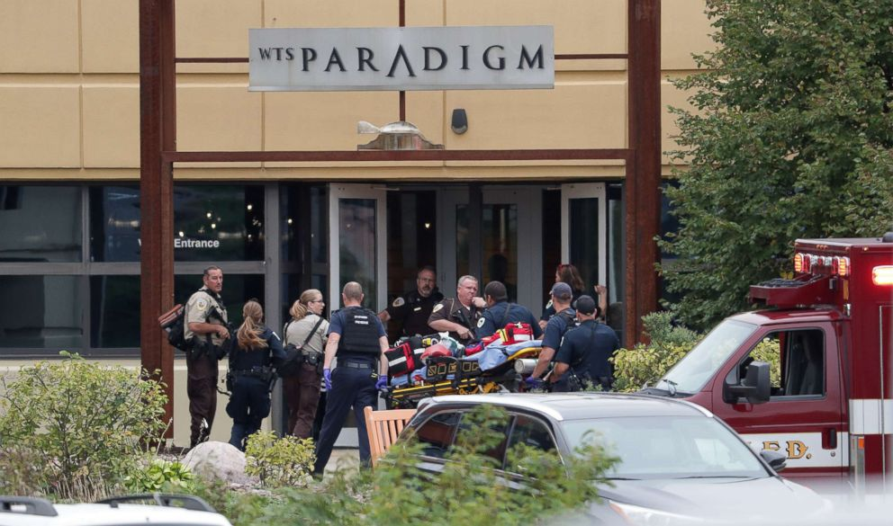 PHOTO: Emergency personnel arrive on the scene of a shooting at a software company in Middleton, Wis., Sept. 19, 2018.