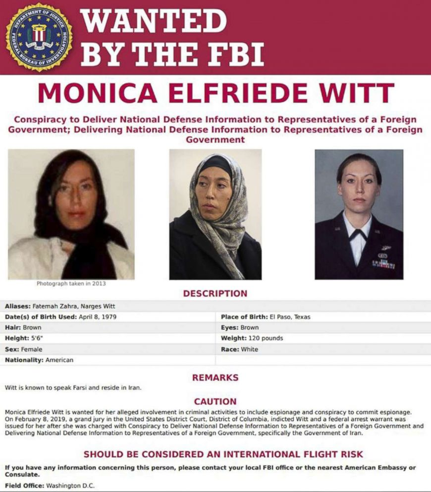 PHOTO: Wanted poster for Monica Elfriede Witt,39, a former US air force counterintelligence officer.