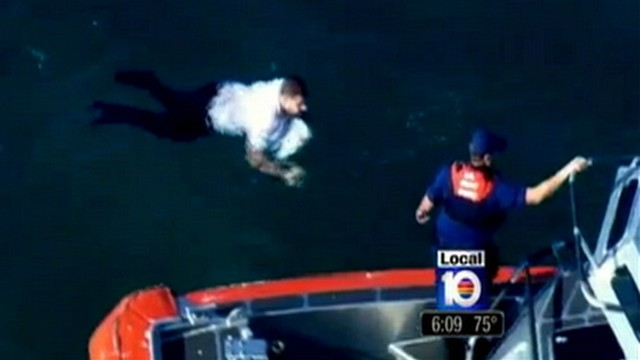 VIDEO: George Verdecia, 28, had to tread water for 7 hours after his boat capsized.