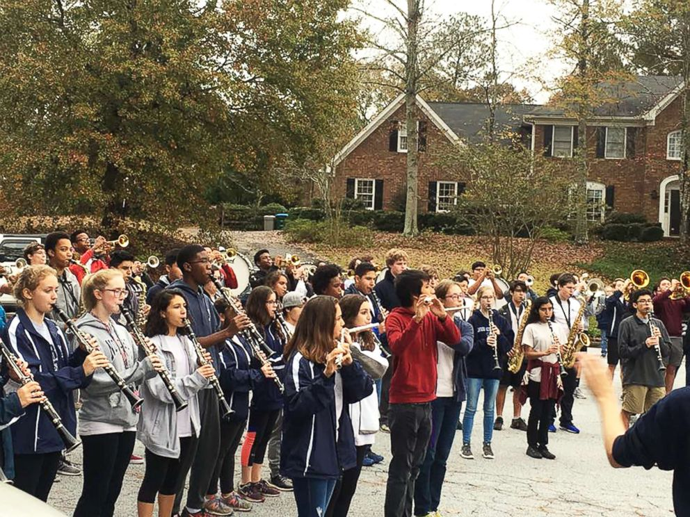 PHOTO: Members of the Norcross High School marching turned out Thursday in Georgia to help Josh Libman, not seen here, celebrate his nearing an end to chemotherapy treatment.
