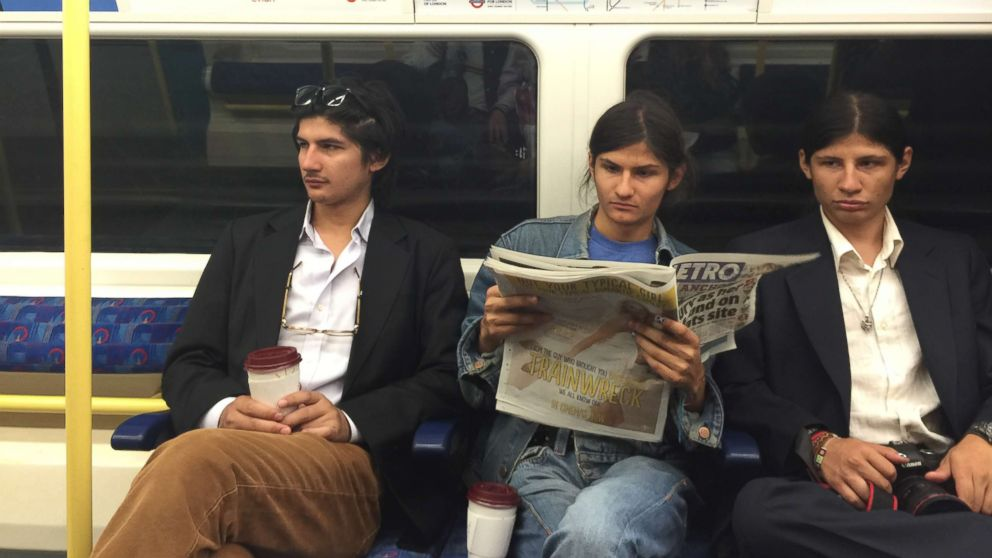 Govinda Angulo, left, and two of his brothers are pictured together riding the train.