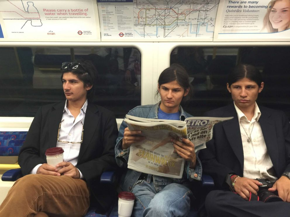 PHOTO: Govinda Angulo, left, and two of his brothers are pictured together riding the train.