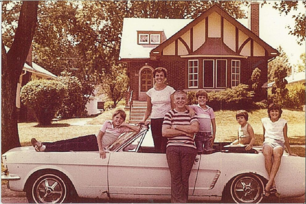 The Wise family and their 1965 Ford Mustang Convertible in the 1970s.