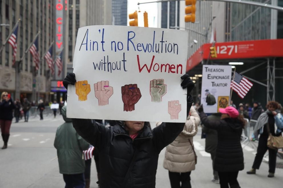 PHOTO: A demonstrator holds a sign at the Womens March in New York, Jan. 19, 2019.