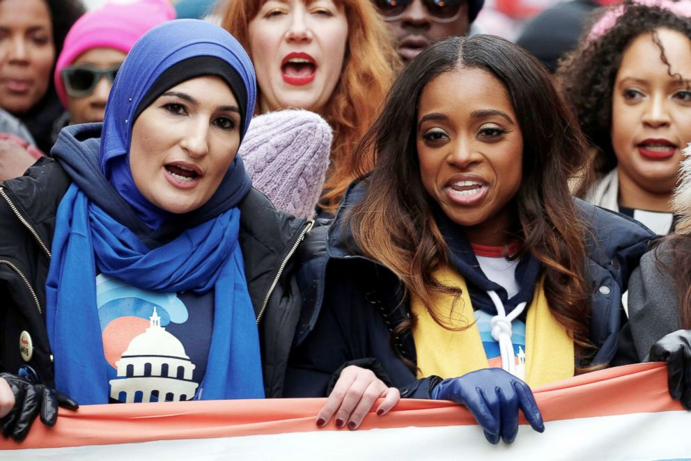 PHOTO: Linda Sarsour and Tamika Mallory, two of the organisers of the Womens March, walk together on Pennsylvania Avenue during the third annual Womens March in Washington, Jan. 19, 2019.