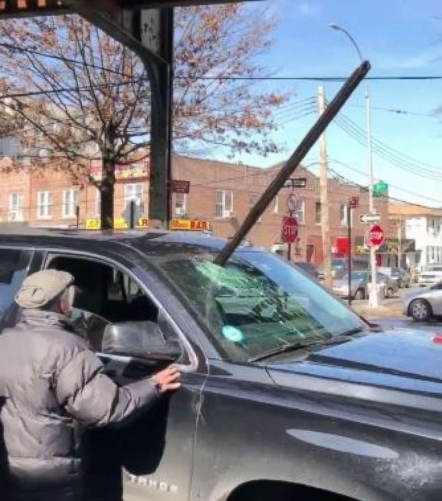 PHOTO: A wooden plank speared an Uber drivers front windshield after it fell from overheard subway tracks in Queens, New York, on Thursday, Feb. 21, 2019. No one was injured.