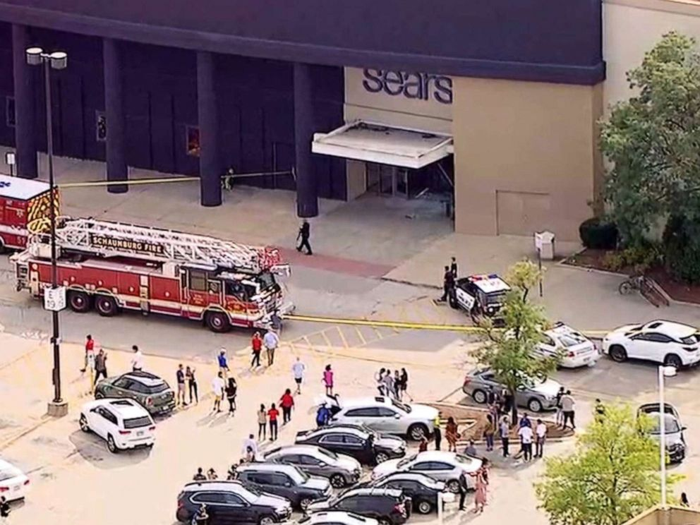 PHOTO: Police and firefighters respond after reports of a car crashing into Woodfield Mall in Schaumburg, Ill., Sept. 20, 2019.