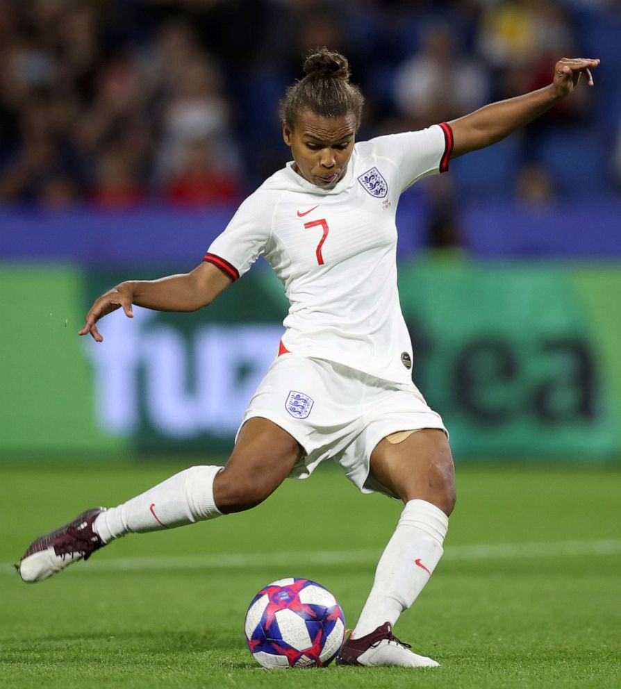 PHOTO: Englands Nikita Parris shoots a penalty kick during the Womens World Cup quarterfinal soccer match between Norway and England at the Oceane stadium in Le Havre, France, June 27, 2019.