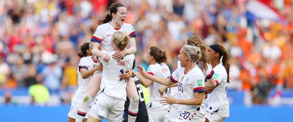 PHOTO: Rose Lavelle celebrates with Emily Sonnett and teammates at full-time after winning the 2019 FIFA Womens World Cup France Final match between the U.S. and The Netherlands at Stade de Lyon on July 07, 2019 in Lyon, France.