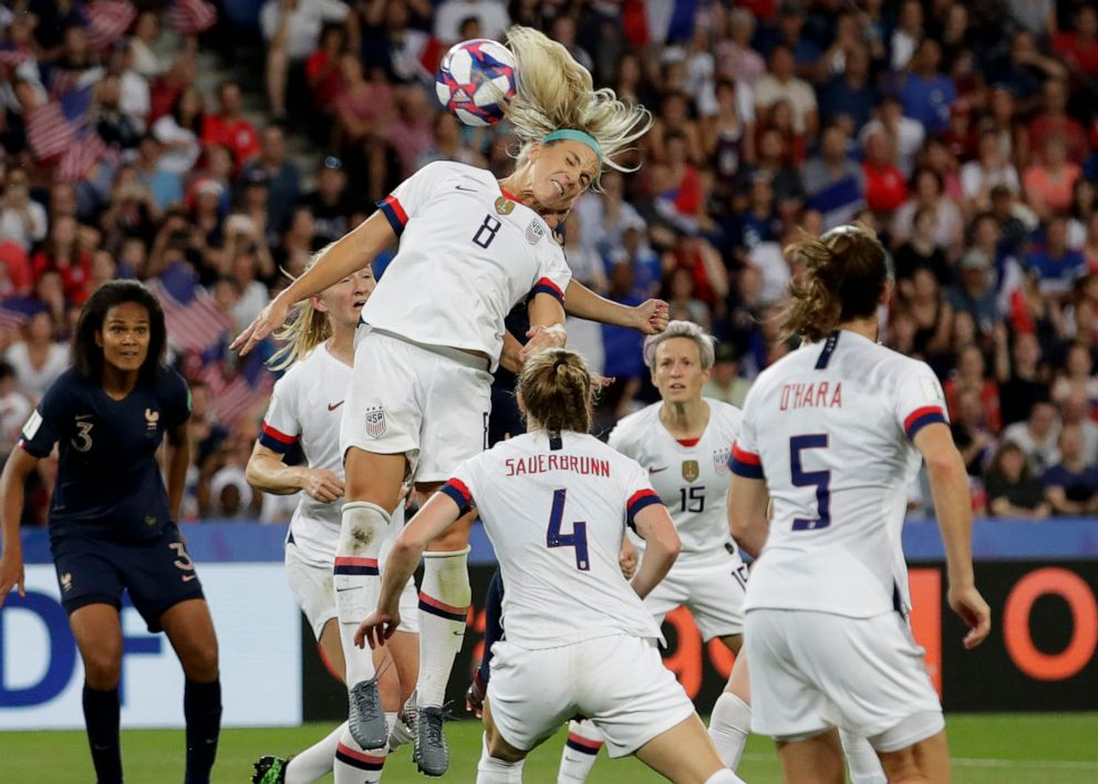 PHOTO: United States Julie Ertz leaps to head the ball during the Womens World Cup quarterfinal soccer match between France and the United States at Parc des Princes in Paris, June 28, 2019.