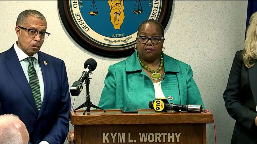 PHOTO: Wayne County Prosecutor Kym Worthy announces murder charges against Deangelo Martin in Detroit, Sept. 18, 2019.