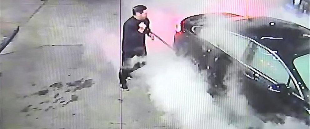 PHOTO: Surveillance video shows the dramatic rescue of a woman trapped in her car at a Liberty gas station on Oct. 27, 2015 in Merion Station, Pa.